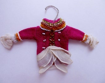 Decorated Hand Knitted Mini Sweater Ornament * Doll House * Beaded Sweater with Clothes Hanger