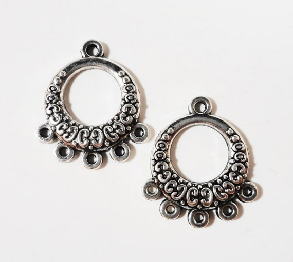 Chandelier Earring Findings 20x18mm Antique Tibetan Silver Metal Hoop 5 to 1 Earring Connector Jewelry Making Jewelry Findings 6pcs