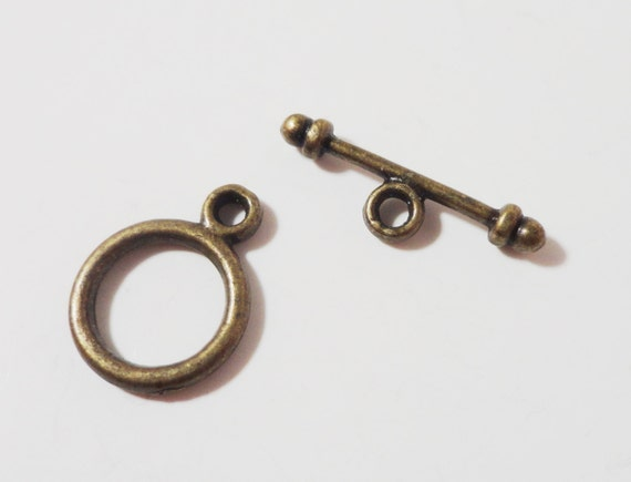 Bronze Toggle Clasps 15mm Antique Brass Metal Small Toggle Closure Jewelry Making Jewelry Findings Craft Supplies 10 Sets (20pcs) USA Seller