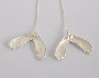 Sterling silver sycamore seed hanging earrings