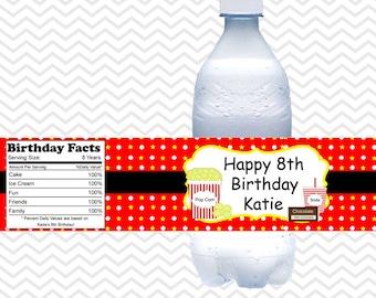 Movie Night-  Personalized water bottle labels - Set of 5  Waterproof labels