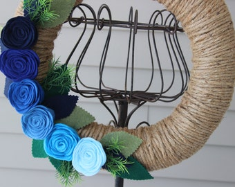 Jute Yarn Wreath/Ombre/Everyday/Spring/Summer/Felt Flowers/Roses/Leaves/Gift/Mothers Day