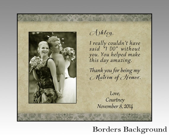 Maid Of Honor Picture Frame Matron Of Honor Gift Wedding