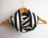 Black and White Stripes Scarf Jersey Scarf İnfinity Scarf Black and White Scarf