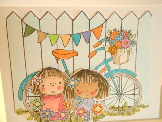 3 Different CUTIE Cards - Blank - Cute Girl(s) Ready For a Bike Ride - Handmade