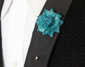Men's flower lapel pin, premium leather boutonniere