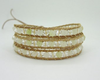 3 Wrap  Natural White Crystal   Jade  Simulated Leather Wrap Bracelet