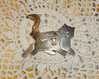Vintage Cat and Kitten 925 and brass brooch