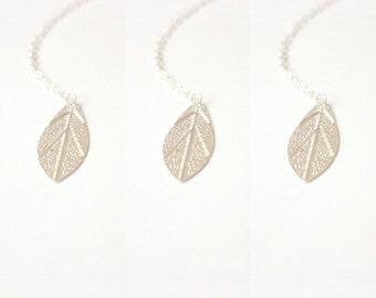 Silver leaf necklace bridal set