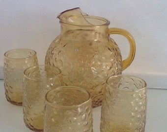 Vintage Amber Pitcher Set With Glasses - Barware - Water Pitcher - Drink Set - Vintage Glass