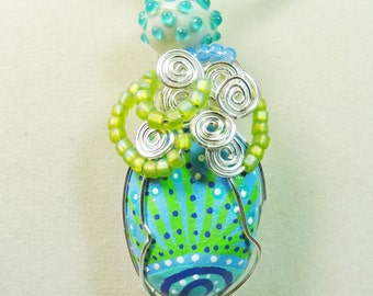Hand Painted Rock Pendant, Blue and Lime Rock Pendant, Wire Wrapped Pendant, Rock Jewelry