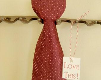 Classic Countess Wara Silk Necktie - Designer Men's Neckwear - Mad Men Burgundy Dot Necktie - Prom or Wedding Tie
