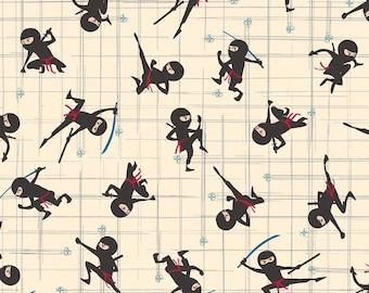 Year Of The Ninja by Scott Jarrard Ninja Main in Cream for Riley Blake by the Yard