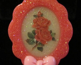 Pink Rose Necklace-Handmade Resin Cameo Pendant