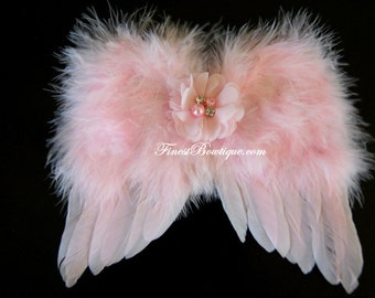 Mini Newborn BABY Pink ANGEL WINGS Headband - Photo Prop . Baby Girl Headbands .. Angel Wings .. Baby Bow Headband .. Newborn Headband
