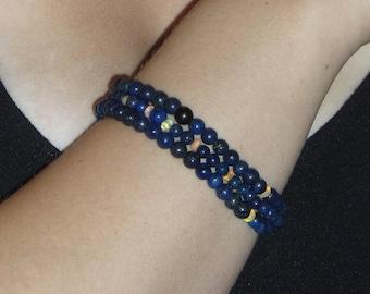 Triple Strand Lapis and Ethiopian Opal Bracelet