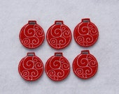Set of 6 Red Christmas Ornaments with Swirls Felt Embellishments