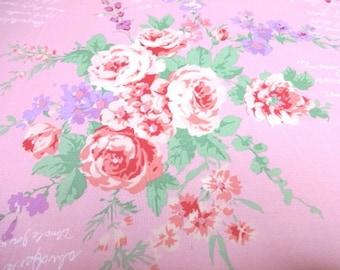 Japanese Fabric English Garden Flower Bouquet Pink  Fat Quarter