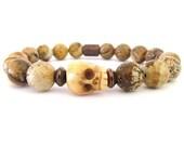 Picture Jasper Unisex Skull Bracelet - Skull Bracelets - Jasper Bracelet - Stretch Bracelet - Unisex Jewelry - Skull Jewelry - U4632