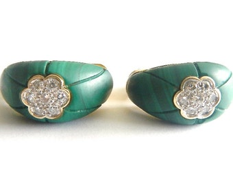 Vintage 14kt Earrings Malachite & Genuine Diamonds With Omega Backs