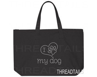 I Love my dog rhinestone tote bag.  Sparkly, bling large black carry all for pet lovers.  Gift idea, heart, animal puppy paw, zipper top