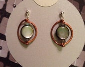Waning Crescent, hand-hammered copper, black mother-of-pearl, and labradorite sterling silver post earrings