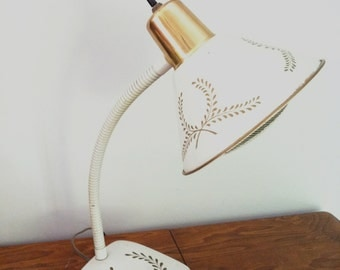 Desk Lamp White with Gold Trim