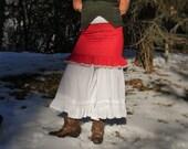 Rose RED polka dot Upcycled SKIRT w/ruffles-n-lace ROMANTIC lovely feminineSpirit