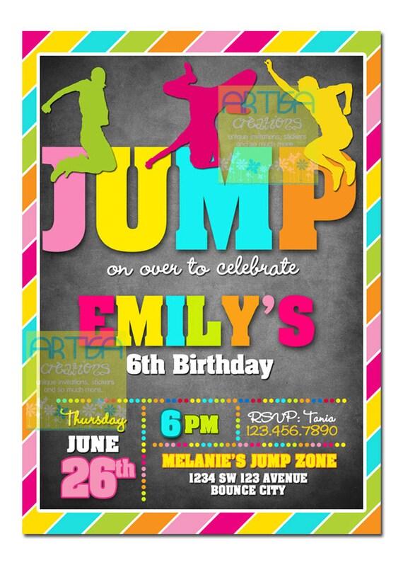 girl jump birthday printable invitation girl by
