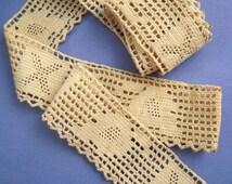 "Antique Crochet Trim Cotton Ecru Edging 50"" Long x 1 5/8"" Wide Vintage Textile Embellishment Crafting Repurpose"