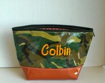 Camo green orange sparklevinylbottom Elli Glitter XL Cosmetic Monogrammed Oilcloth