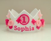 Butterfly Crown, Felt Birthday Crown, Roses, Pink, Personalized