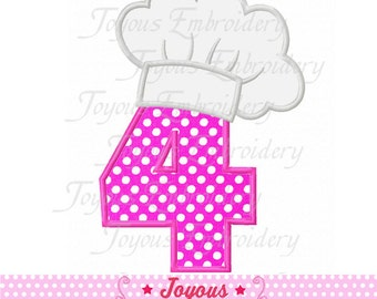 Instant Download Chef Hat Number 4  Applique Embroidery Design NO:1671