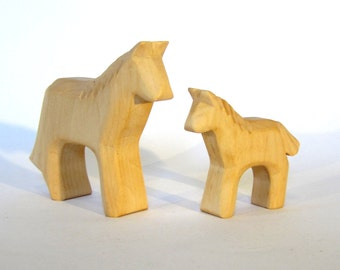 Wooden Horse with Foal, Miniature carved farm animals,