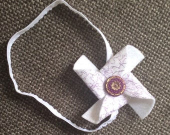 White/Purple Felt Pinwheel Headband