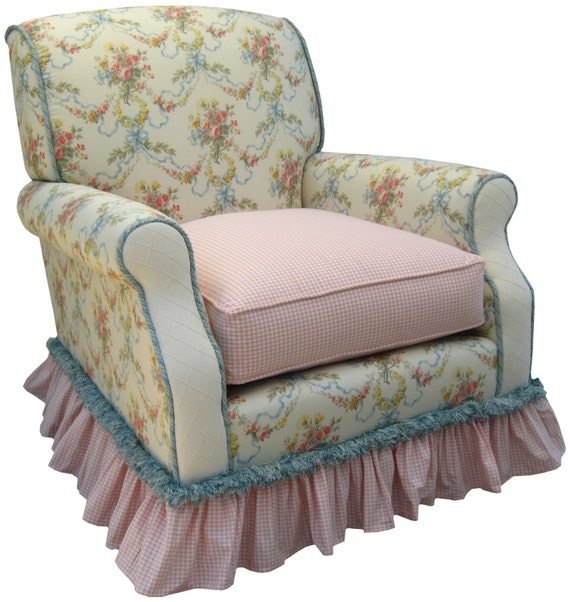 Items Similar To Shabby Chic Blossoms Amp Bows Upholstered