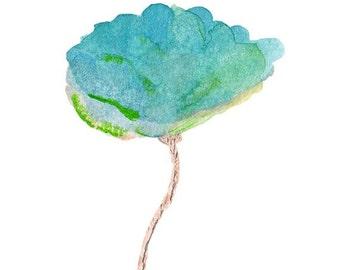 Watercolor Flower, 5x7 Art Print, Contemporary Floral Art, Blue Tulip Painting, Blue and Green Decor, Aqua Nursery Art, Blue Green Nursery
