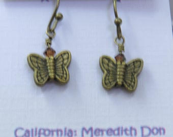"1"" Bronze Butterfly with swarovski crystal Earrings"