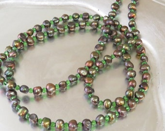 "Long strand of green dyed fresh water pearls 10mm and green crystals(5mm) 40"" necklace"