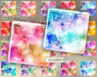magic flower - squares image - digital collage sheet - 1 x 1 inch - Printable Download