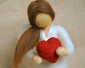 Valentine's Day needle felted doll : Girl with red heart