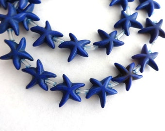 14 mm Lapis Blue Turquoise, Howlite, Gemstone Star Fish Beads
