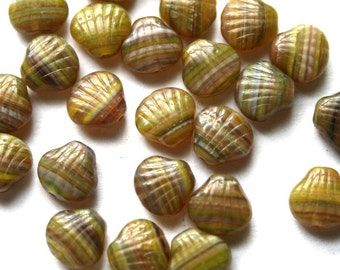 9 mm Green Multi Striped Shell Beads