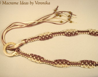 "Macrame Belt ""Choko-Moko"", woven of satin cord,"