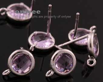 2pcs/1 pair-9mmX7mmRhodium plated faceted Round glass post earrings-Lavender(M355S-G)
