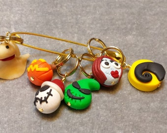 Stitch Markers Knitting or Crochet Nightmare Before Christmas Inspired  Sally Glow in the Dark Zero Jack Moon Oogie Boogie