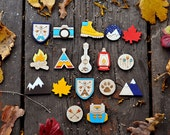 Wooden brooch, set of 10 pieces (laser cut & hand painted)