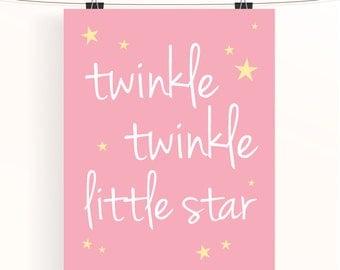 Twinkle twinkle little star - pink nursery print - typography poster - baby girl nursery - star nursery art - kids wall art