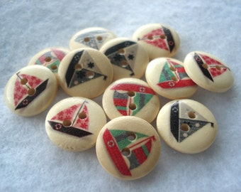 15mm Wood Buttons Boat Print Pack of 15 Mixed Boat Buttons W1538a