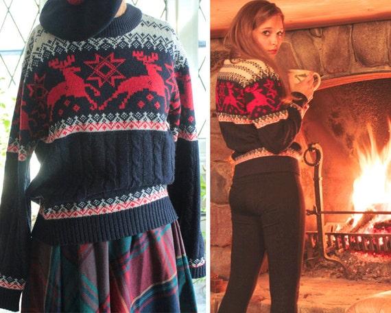 jcpenney 70s nordic reindeer ugly sweater vintage by harlowgirls. Black Bedroom Furniture Sets. Home Design Ideas